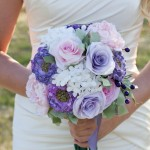 bride and bouquet_white & violet 1