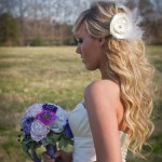 bride and bouquet_white & violet 2