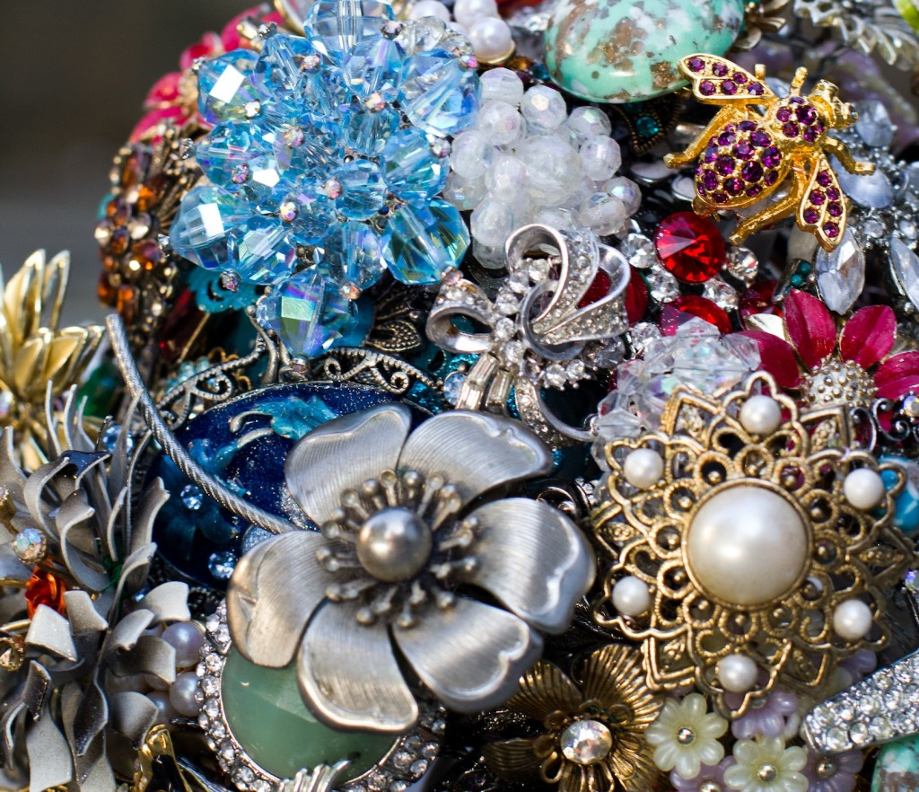 Caroline brooch bouquet close up 2